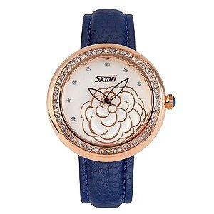 Relógio Feminino Skmei Analógico 9087 Azul e Dourado-