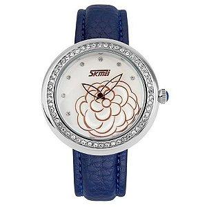 Relógio Feminino Skmei Analógico 9087 Azul e Prata-