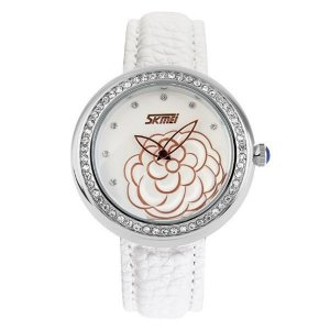 Relógio Feminino Skmei Analógico 9087 Banco e Prata-