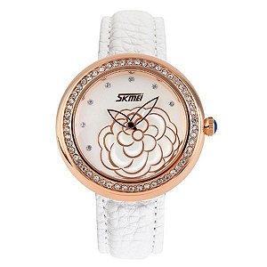 Relógio Feminino Skmei Analógico 9087 Branco e Dourado-