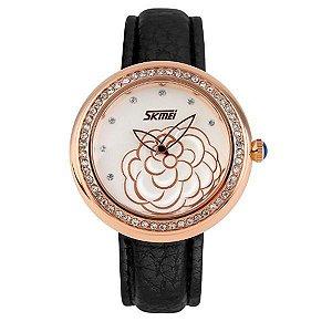 Relógio Feminino Skmei Analógico 9087 Preto e Dourado-