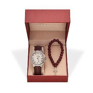 Relógio Feminino Skmei Analógico 9088 - Pulseira - Prata e Marrom