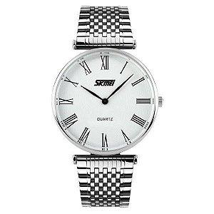 Relógio Feminino Skmei Analógico 9105 - Prata e Branco