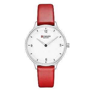 Relógio Feminino Curren Analógico C9039L - Prata e Vermelho