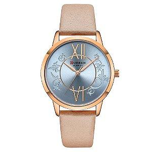 Relógio Feminino Curren Analógico C9049L - Rose e Bege