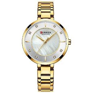 Relógio Feminino Curren Analógico C9051L - Dourado