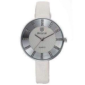 Relógio Feminino Skone Analógico Casual 9250 Branco-