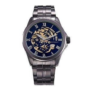Relógio Automático Masculino Ouyawei Analógico - Preto e Dourado