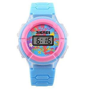 Relógio Infantil Skmei Digital 1097 - Azul Claro e Rosa