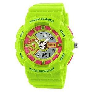 Relógio Infantil Skmei Anadigi 1052 Verde e Rosa-