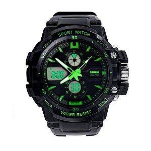 Relógio Infantil Menino Skmei AnaDigi 0990L - Preto e Verde