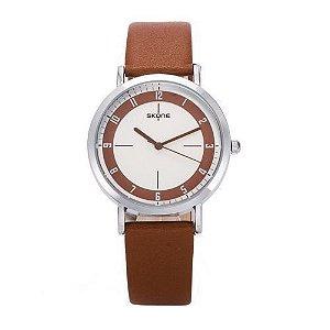 Relógio Unissex Skone Analógico Casual 9340 Marrom-