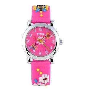 Relógio Infantil Menina Skmei Analógico 1047 - Rosa Claro
