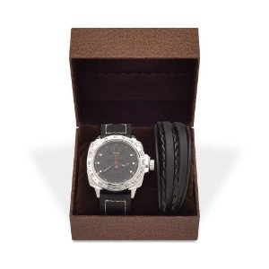 Kit Relógio Masculino Weide Analógico UV-1510 e Pulseira de Couro