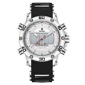 Relógio Masculino Weide AnaDigi WH-6910 - Prata e Branco