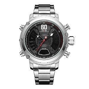 Relógio Masculino Weide AnaDigi WH-6905 - Prata e Preto