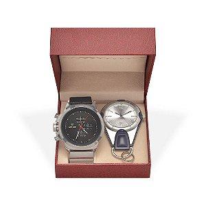 Kit Relógio Masculino Weide Analógico WH3305B e Relógio Chaveiro 5506G