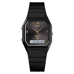 Relógio Feminino Skmei AnaDigi 1604 - Preto e Dourado