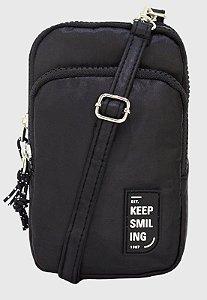 Shoulder Bag Bolsa Transversal Pequena de Nylon Preta B049