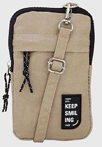 Shoulder Bag Bolsa Transversal Pequena de Nylon Bege B050