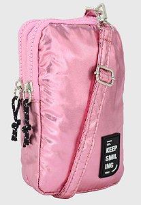 Shoulder Bag Bolsa Transversal Pequena de Nylon Metalizada Rosa B051