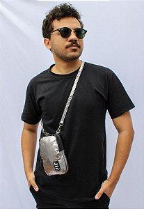 Shoulder Bag Bolsa Transversal Pequena de Nylon Metalizada Prata B051
