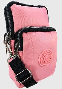 Shoulder Bag Bolsa Transversal de Nylon Rosa B027