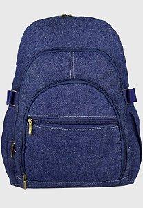Mochila Jeans Escolar Grande Azul Marinho L083