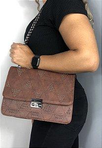 Bolsa Feminina Tiracolo com Pedraria Marrom B017