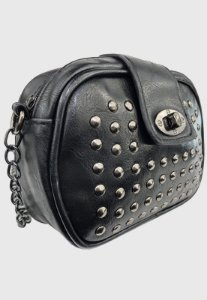 Bolsa Tiracolo Feminina Pequena com Pedraria Preta B022