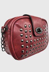 Bolsa Tiracolo Feminina Pequena com Pedraria Bordô B022