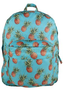 Mochila Escolar Nylon Estampada Abacaxi Tropical MOCLC-3