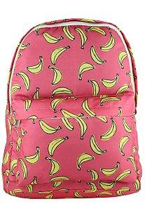 Mochila Escolar Juvenil Grande de Nylon Estampa Divertida Banana Laranja L099-12