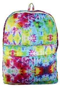 Mochila Escolar Juvenil Grande de Nylon Estampa Tie Dye Multicolorida L099-26