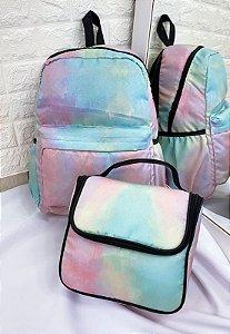 Kit Mochila e Marmiteira Estampa Tie Dye Multicolorida KIT03