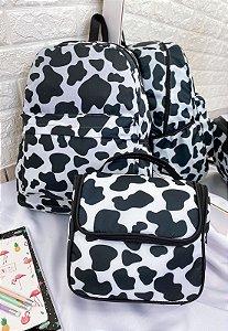 Kit Mochila e Marmiteira Cow Print Preta e Branca KIT03