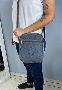 Shoulder Bag Bolsa Transversal de Lona Pequena Cinza L084