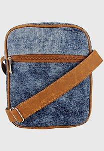 Shoulder Bag Bolsa Transversal de Lona Pequena Jeans Estonado L084
