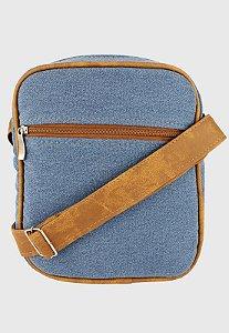 Shoulder Bag Bolsa Transversal de Lona Pequena Jeans Delavê L084