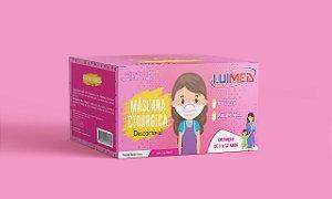 Máscara Cirúrgica Tripla Infantil Rosa C/ Elástico CX C/50 UN - Luimed