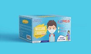 Máscara Cirúrgica Tripla Infantil Azul C/ Elástico CX C/50 UN - Luimed