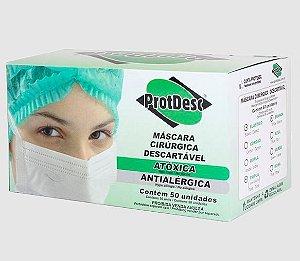 Máscara Descartável Tripla Branca C/50 Unidades - ProtDesc