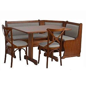 Conjunto Canto Alemão 160x120 Com mesa e 2 cadeiras
