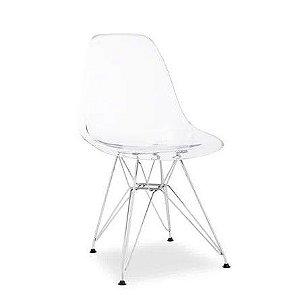 Cadeira Transparente Eiffel com Base Cromada