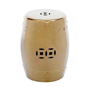 Puff Cerâmico Decorativo Dourado