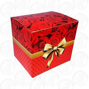 Caixa De Papelão Decorada Laços e Rosas Vermelha Para Caneca PCT C/ 10 Und