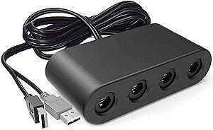 Usado Adaptador 4 Portas Controle Game Cube para Wii U / PC / Nintendo Switch USB - Importado