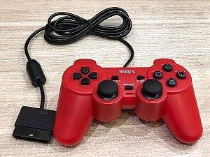 Controle Dualshock Playstation 2 PS2 Vermelho - Nanuz