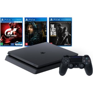 Console Playstation 4 Slim PS4 1TB + GT Sport + Death Stranding + The Last Of Us - Sony