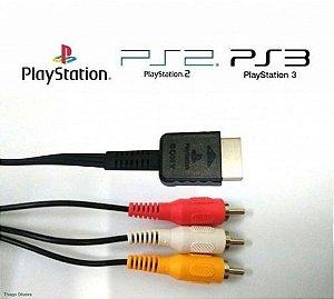 Cabo AV RCA Audio e Video para Playstation 1,2 e 3 Original - Sony